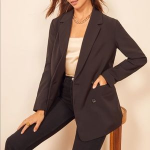 CARMAR oversized black blazer long double breasted